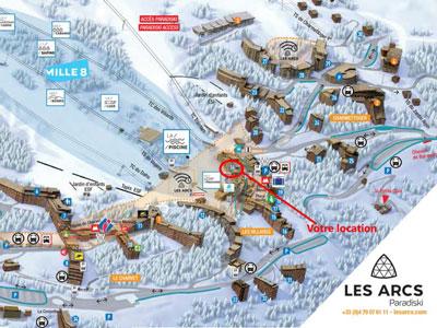 Situation des Tournavelles aux Arcs 1800